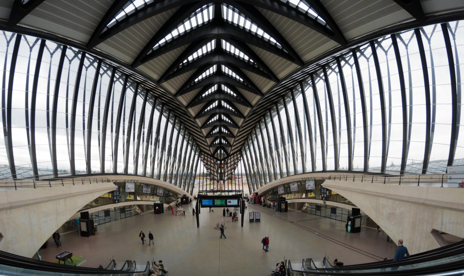 Lyon Airport's interior designed by Spanish designer Santiago Calatrava.
